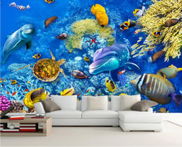 sea turtles decor Canada - WDBH 3d wallpaper custom photo Sea World Dolphin Fish Turtle Children's Room background Home decor 3d wall murals wallpaper for walls 3 d