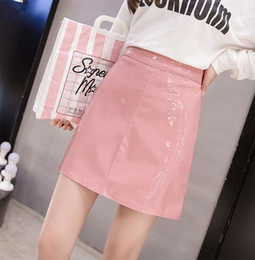 red faux leather skirt NZ - Stinlicher 2019 New Fashion Autumn winter high waist Skrit PU faux leather women skirt pink black blue zipper mini skirt women