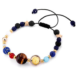 galaxy jewelry NZ - Hot Sell ! 5pcs lots Natural Stone Beads Galaxy Planets Solar System Bracelet Bangle Women Jewelry Accessories Gifts