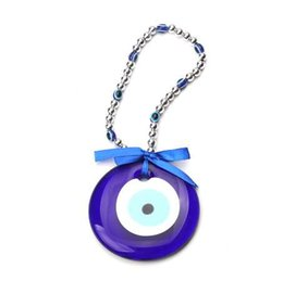 Discount turkey charms - 1pc 25cm turkey blue evil eye Acrylic necklace 87mm glass charms pendant jewelry accessories findings for women diy car