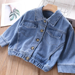 $enCountryForm.capitalKeyWord Australia - Kids denim jacket girls double pocket jean outwear children lapel long sleeve casual cowboy outwear 2019 autumn new girl clothes F9563