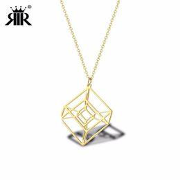 $enCountryForm.capitalKeyWord NZ - RIR Stainless Steel Golden Hollow Hypercube Necklaces Creative Design Geometry Shape Math Jewellery Necklace Gifts