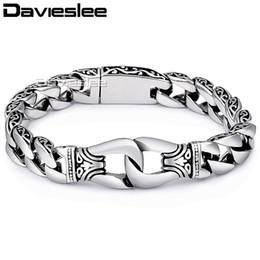 $enCountryForm.capitalKeyWord Australia - Davieslee Mens Bracelet Chain 316l Stainless Steel Punk Bracelets For Men Curved Silver Color Curb Chains Cuban Link 15mm Lhb10 T190701