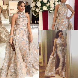 Wholesale Gorgeous Gold Sequins Mermaid Evening Dresses with Detachable Skirt Prom Dress Long Formal Party Dress Pageant Gowns Special Occasion