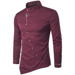 Chinese  Vintage Mens Designer Dress shirt Long Sleeve Oblique Button Dress Shirts Mandarin Collar Men Tuxedo Shirts manufacturers