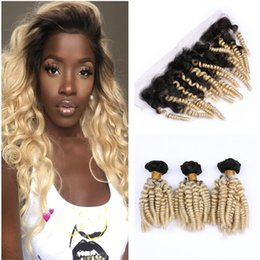 Peruvian Human Hair Loose Curl NZ - Sprial Curl Blonde Ombre Hair Weaves With Lace Frontal 1b 613 Dark Root Loose Wave Hair With Virgin Peruvian Human Hair Lace Frontal