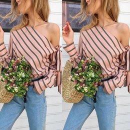 Discount l angle - Shoulder Angle Frenulum Stripe Fashion Shirt Female