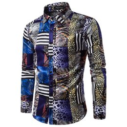 $enCountryForm.capitalKeyWord Australia - Fashion Snake Print Shirt Men High Quality Social Design Blouse Male Long Sleeve Cotton Dress Shirt Men Button Spring Clothes