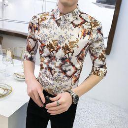 Shirts Flower For Man Australia - Social Shirt for Boys Blouse Men's Clothes Summer Camisa masculina Vintage Flower Men Shirt Half sleeve Fashion Slim Black White
