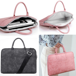 Laptop Air Australia - Fashion New PU Waterproof Scratch-resistant Laptop Shoulder Bag 13 14 15 inch Notebook Shoulder Carry Case for MacBook Air