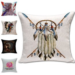 indian beds 2019 - Indian Dreamcatcher Skull Pillow Cases linen Cotton Cushion Cover Square Throw Pillow Case Home soft Bed Pillowcases Chr
