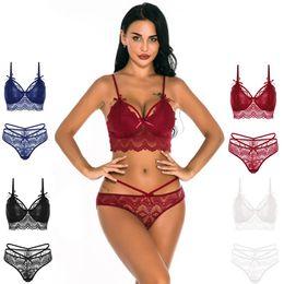 Großhandel Ultra-Frauen-Unterwäsche-reizvolle Wäsche-Bra Blumen bloße Spitze Bralette und Mesh Panty Set mit verstellbarem Spaghetti-Trägern Schwarz Weiß Blau Rot