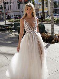 $enCountryForm.capitalKeyWord Australia - Sexy Prom Dresses 2019 Beaded Plugging V Neck Sheer Straps High Split Open Back Sexy Tulle vestidos de fiesta largos elegantes