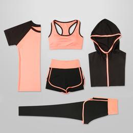 $enCountryForm.capitalKeyWord Australia - Oloey 5 Piece Yoga For Running T-shirt Fitness Bra Wear Gym Clothing Women Workout Set Sports Suit Q190517
