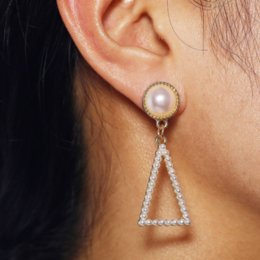 wholesale geometric charms Australia - Sale Korean Ethnic Retro Vintage Fashion Accessories Jewelry Pearls Geometric Hollow Triangle Pendants Charm Drop Dangle Earrings For Women