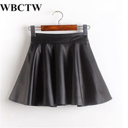 $enCountryForm.capitalKeyWord NZ - Wbctw Short Skirts Solid Casual Sexy High Waist Women Skirt 7xl Plus Size Cute A-line Skater Skirt Summer Faux Leather Skirts Y1904002