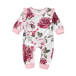 Discount cute toddler onesies - Spring INS Cute Toddler Baby Girls Floral Rompers Summer Ruffles Long Sleeve Flower Printing Jumpsuits Cotton Bodysuits