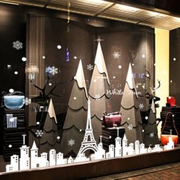 Glasses Shopping Australia - 3D White Iron Tower Town Christmas Snowflake Wall Sticker Shop Window Glass Poster Festival Christmas Decoration PVC Art Mural