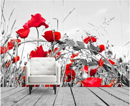 black white living room decor NZ - 3d wallpaper custom photo HD black and white red flowers background home decor 3d wall murals wallpaper for walls 3 d living room