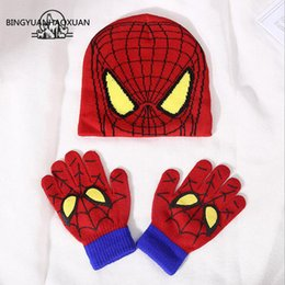 $enCountryForm.capitalKeyWord NZ - BINGYUANHAOXUAN Autumn Winter Girls Boys Hat Set Cartoon Spider Man Warm Cap knitted Hat Gloves Children Sets Bonnet Gorro