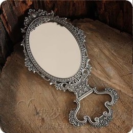 $enCountryForm.capitalKeyWord NZ - 2X magnifying antique double-face folding table desktop retro metal makeup cosmetic mirror large embossed rose princess 335L