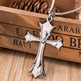 $enCountryForm.capitalKeyWord Australia - Silver Cross Necklace for Men Boys Women Girls Crown Link Chain Necklace Free Shipping 1 pcs Hip Hop Jewelry with Leather Rope Chain
