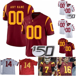 usc football Australia - Custom USC Trojans 2019 Football Any Name Number Red White 9 Kedon Slovis JuJu Smith-Schuster 18 JT Daniels Seau Bush NCAA 150TH Jersey