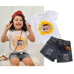 jeans shorts shirt girls NZ - Baby girls suits baby girl clothes summer girls outfits baby girl summer outfit short-sleeved T-shirt+hole Jeans shorts kids clothes A5997