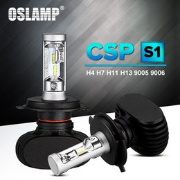 Wholesale Oslamp Auto Led H7 Headlight H13 HB3 HB4 Led H4 Car Bulb K CSP Chip W lm Fan less H8 H11 Lamp All in one