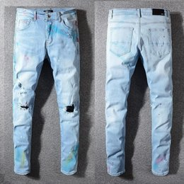 $enCountryForm.capitalKeyWord Australia - Unique Mens Painted Light Blue Skinny Jeans Stretch Designer Ripped Slim Fit Motorcycle Biker Scratched Beggar Hip Hop Denim Pants