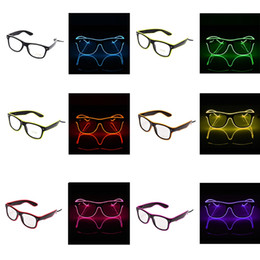 El wirE pc online shopping - Creative LED Party Glasses Fashion EL Wire Glasses Birthday Halloween Party Bright Eyewear Bar Fluorescent Dance Decorative TTA1091