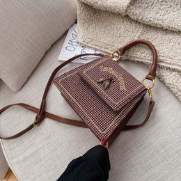 plaid check handbag Canada - wholesale women handbag foreign-style checked velvet handbag simple atmosphere leather shoulder bag winter new checked embroidery women bag