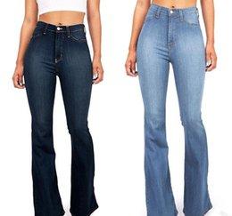 Girl jeans hiGh waist online shopping - New Fashion Women Pure Color Denim Jeans Casual High Waist Skinny Girls Slim Blue Womens Elegant Trousers