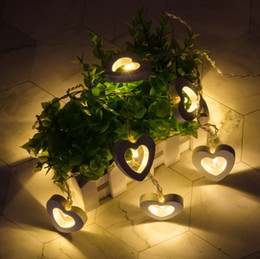 Solar Heart Lights Australia - Home & Garden Hot 10 LED Warm Wooden Heart Shape String Fairy Lights For Christmas Xmas Wedding Decoration Party Valentine's Day Decoration