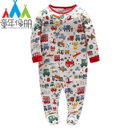 down tools NZ - Picturesque Childhood 2-1 Spring Baby Cotton Long Sleeve Footies Cartoon Car Transportation Tool Single Breasted Suit Kids Toys