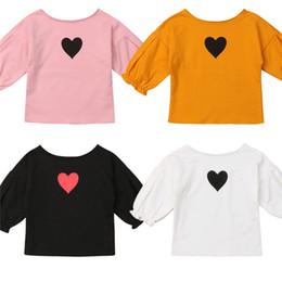 27b9e69ad119f Enfants Enfants Filles T-shirt Automne coeur impression manches longues  coton Outfit Tee Tops pour adolescent bébé fille Vêtements