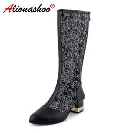 04359f088b Plus Size 34-43 Ladies Summer Boots Women Summer Boots Gladiator Sandals  Knee-high Breathable Hollow Sandals Zipper