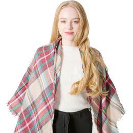 $enCountryForm.capitalKeyWord Australia - Women Scarf Triangular Tartan Desigen Scarves Lattices Oversize Plaid Colorful Pashmina Shawl Wraps Ring Scarf Bandana