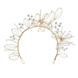 $enCountryForm.capitalKeyWord UK - 2019 Chic Vintage Gold Leaf Wedding Tiara Headband Floral Bridal Hair Crown Crystals Handmade Bridal Accessories Hair Jewelry Hairband