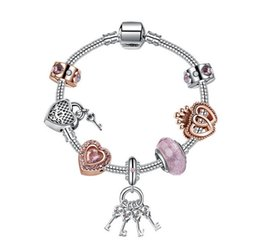 6d05ccc4a 925 Sterling Silver Murano Glass Bead Charm Rose Gold Crown Crystal Spacer  Heart Key Pendant Beads Fit Women Pandora Bracelet Diy Jewelry