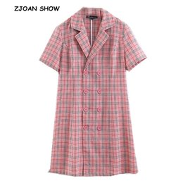 $enCountryForm.capitalKeyWord NZ - 2019 New Vintage Gingham Plaid Double-breasted Buttons Shirt Dress Retro Notched Collar Short Sleeve Mini Short Dresses Vestido
