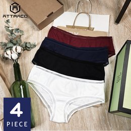 Solid Pack Australia - Attraco Women's Underwear Panties Cotton Soft Cozy Ladies Briefs Boyshorts Solid Packs Of 4 Breathable Mid Waist High Quality T3190601