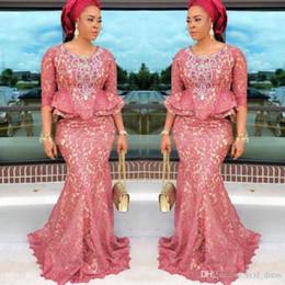 $enCountryForm.capitalKeyWord Australia - Aso Ebi Nigeria Style Lace long arabic evening formal dresses 2018 mermaid prom dresses long 2019 3 4 Long Sleeves Peplum Plus Size