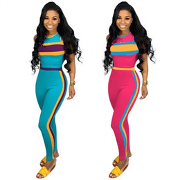 Discount cycling sexy - Womens clothing off shoulder sleeveless outfits 2 piece set sexy casual tracksuit jogging sport suit sweatshirt tights s