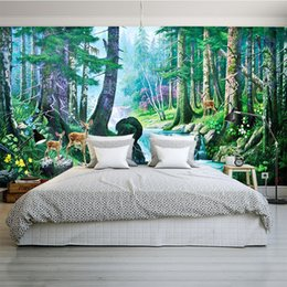 house forest painting Australia - Dish 3d virgin forest wallpaper Large panorama mural oil painting wallpaper decor special coffee house bar living room walls