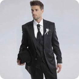 $enCountryForm.capitalKeyWord Australia - Handsome Black Wedding Suits for Groom Tuxedo Peaked Lapel Custom Made Man Blazers Skinny Groomsmen Wear 3Piece Latest Designs Costume Homme