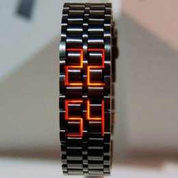 Venta al por mayor de Moda Full Metal Digital Lava reloj de pulsera de hierro metal rojo LED Samurai para hombres Boy Sport Simple Wathes Men Watch