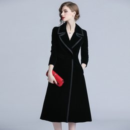 $enCountryForm.capitalKeyWord Australia - 2019 Spring Fashion Long Trench Coat Women Slim Elegant Woman Clothes Vintage European Black Velvet OL Windbreaker QH121