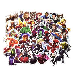 Wholesale 50 Car Stickers MARVEL Super Hero DC for Car Laptop Luggage Notebook Decal Fridge Skateboard Spiderman Batman Superman Hulk Iron Man