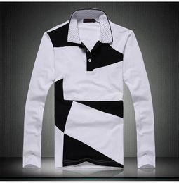 $enCountryForm.capitalKeyWord NZ - New Style Design Mens Polos Fashion Patchwork Long Sleeve Polos Shirt Men Slim Fit Mens Casual Cotton Polo Shirt Plus Size 6XL YH-147